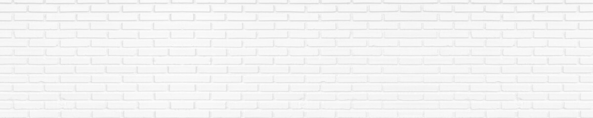 White brick wall texture background. panorama picture