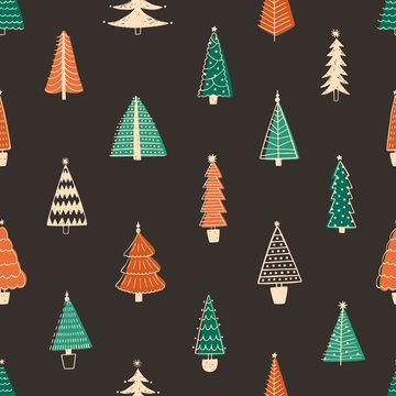 Fir trees vector seamless pattern