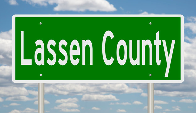Rendering of a green 3d highway sign for Lassen County