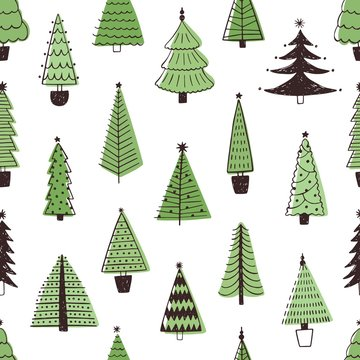 Christmas trees hand drawn vector seamless pattern