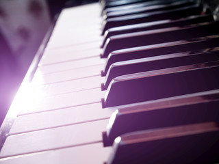 Old retro piano keys. close up view. Black and white keys, octave. Lighting effect