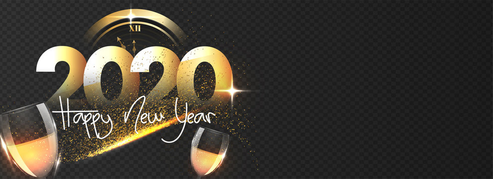 Paper cut text 2020 with wine glasses, clock and glitter effect on black png background for Happy New Year celebration. Header or banner design.