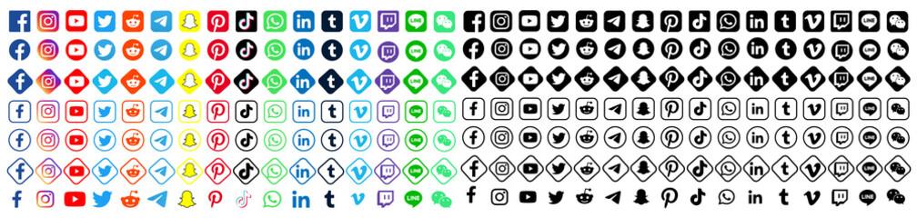 Facebook, twitter, instagram, youtube, reddit,telegram,snapchat, pinterest, tiktok logo.. Facebook, twitter, instagram, youtube, reddit,telegram,snapchat, pinterest, tiktok vector