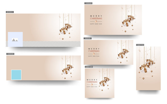 Merry Christmas & Happy New Year Header or Banner, Poster and Template Design Decorated with hanging Bronze Baubles and Gift Boxes.