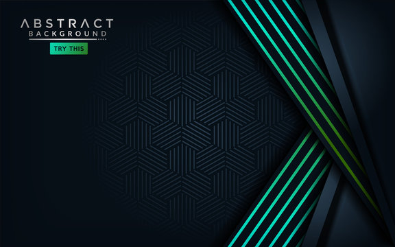 Abstract modern dark background with light green blue gradient lines.