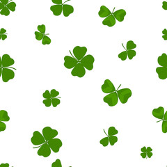 Saint Patrick's day shamrock seamless pattern. Illustration for backgrounds, card, posters, banners, textile prints, cover, web design. Eat healthy. Vector icons.