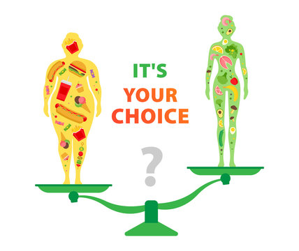 Your choice. Healthy and unhealthy food. The effect of nutrition on human weight. Fastfood vs balanced menu.