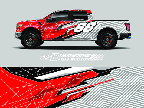 Pick up wrap design vector. Graphic abstract stripe racing background kit designs for wrap vehicle, race car, rally, adventure and livery. Full vector eps 10