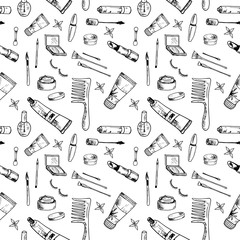 Beauty pattern. Hand drawn beauty, makeup and cosmetics icons and objects. Seamless vector backdrop. Sketch design elements. Isolated vector illustrations on a white background.