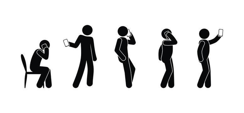 People use the phone, a man holds a smartphone, stick figure illustration, isolated human icons