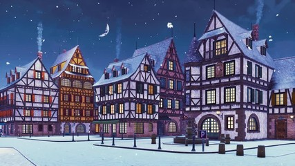Wall Mural - Empty snow covered street of cozy medieval town with traditional half-timbered european houses at snowfall winter evening with half moon in the sky. With no people 3D animation rendered in 4K