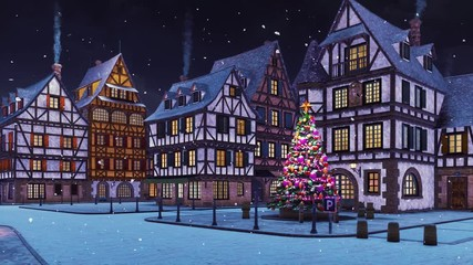 Wall Mural - Empty street of cozy european town with traditional half-timbered houses and decorated outdoor christmas tree at snowfall winter night. With no people 3D animation for Xmas or New Year rendered in 4K