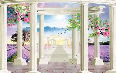 Obraz 3d wallpaper design with historical columns on a landscape with mountains, birds and tree branches flowers for photomural - fototapety do salonu