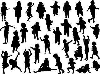 thirty two active child black silhouettes
