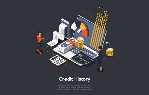 Isometric credit history concept. People are analysing, calculate and checking credit history. Vector illustration