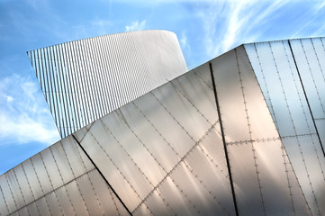 Architectural detail of the Imperial War Museum, Salford Quays, Greater Manchester, UK