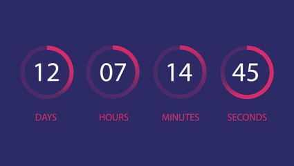 User interface countdown clock. Day, hour, minute, second.