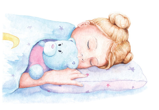 watercolor drawing, illustration of a girl sleeping
