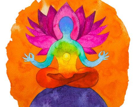 Disegno grafico Posizione del loto. Forza di 7 chakra