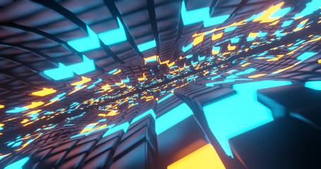 Hyper Loop space concept., 3D Rendering. Wall mural