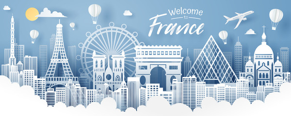 Paper cut of France landmark, travel and tourism concept. Fotomurales