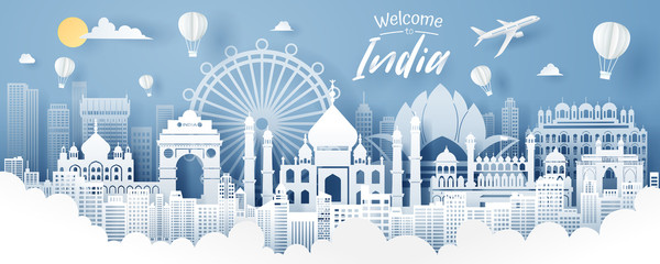 Paper cut of India landmark, travel and tourism concept. Fotomurales