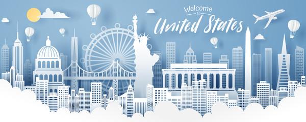Paper cut of USA landmark, travel and tourism concept. Fotobehang