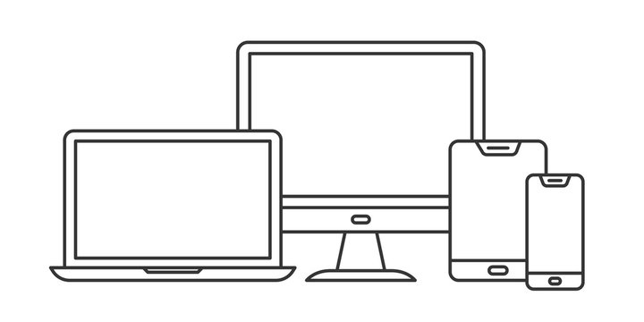 Set of linear device icons. Vector outline devices
