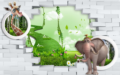 3d mural wallpaper for kids room Broken Brick Wall with beautiful landscape behind with Elephant and giraffe in circle .