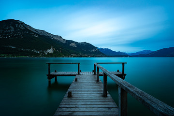 Wooden jetty at lake Annecy
