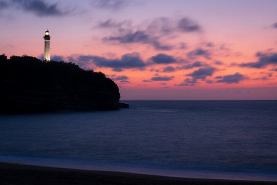 Biarritz lighthouse at sunset.