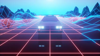 Foto auf Acrylglas Aubergine lila Retro futuristic car in 80s style moves on a virtual neon landscape. 3d illustration