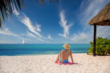 Wall Mural - girl sunbathing on beach