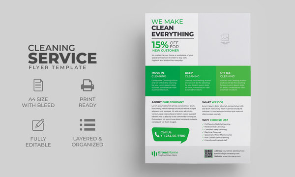 Cleaning Service Flyer Template | Cleaning Service Poster, Brochure Cover