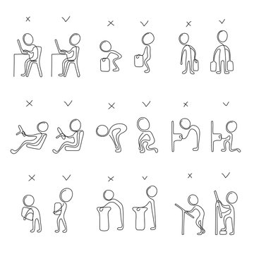 Collection of correct and poor postures during everyday people activities. Simple stick figure for using in card, banner, brochure. Vector illustration