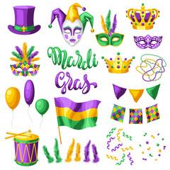 Mardi Gras party set of items.