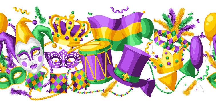 Mardi Gras party seamless pattern.