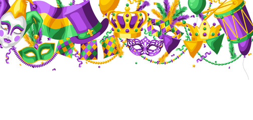 Mardi Gras party greeting or invitation card. Wall mural