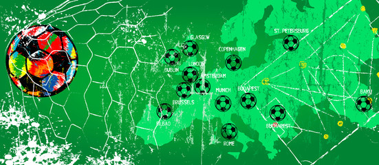 Soccer / Football design for the great soccer event in 2020 with venues ,free copy space, vector