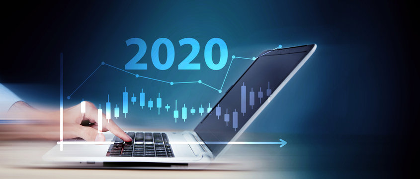 The concept of financial trading. Stock market and exchange. in 2020