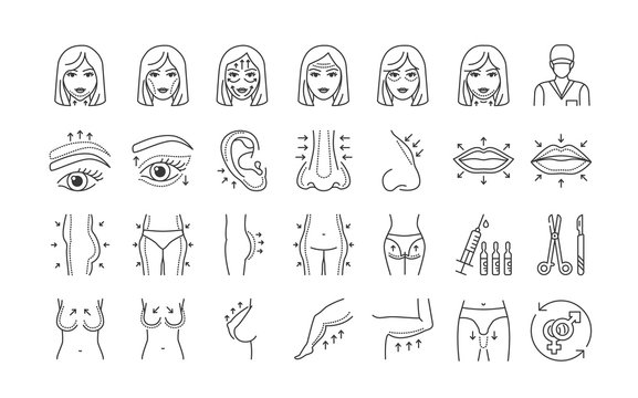 Plastic surgery black line icons set. Rhinoplasty, otoplasty, eye lift, buttock lift. Anti aging injection, therapy. Signs for web page, mobile app, banner, social media. Editable stroke.
