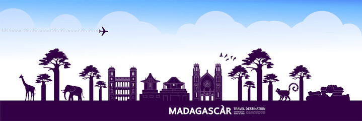 Fototapete - Madagascar travel destination grand vector illustration.