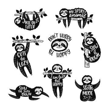Set of sketch cartoon slothes with inspirational quotes. Hand drawn cute doodle vector illustrations.