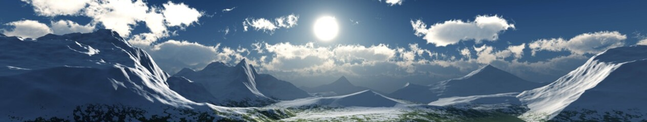 Valley of snowy peaks at sunset, snowy landscape, 3D rendering. above the clouds Fotoväggar