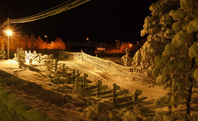 Typical swedish village in frosty night in the Arctic Circle