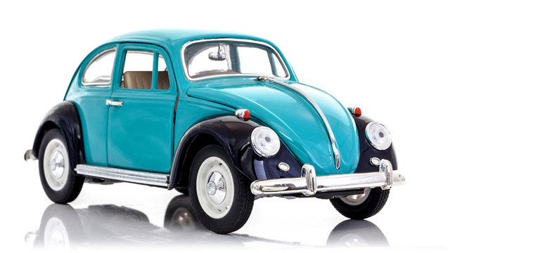 Beetle can in blue and black