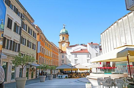 Rijeka, Croatia. Ssquare with view of clock tower. Gate Kvarner