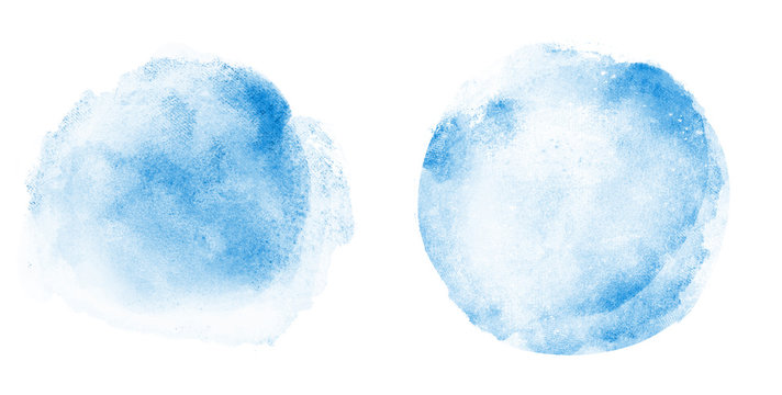 Two watercolor circles on white as background
