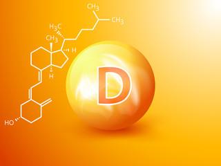 Fototapeta Nutrition sign vector concept. The power of vitamin D. Chemical formula obraz