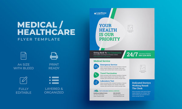 Medical Healthcare Flyer Template | Poster, Brochure for Medical